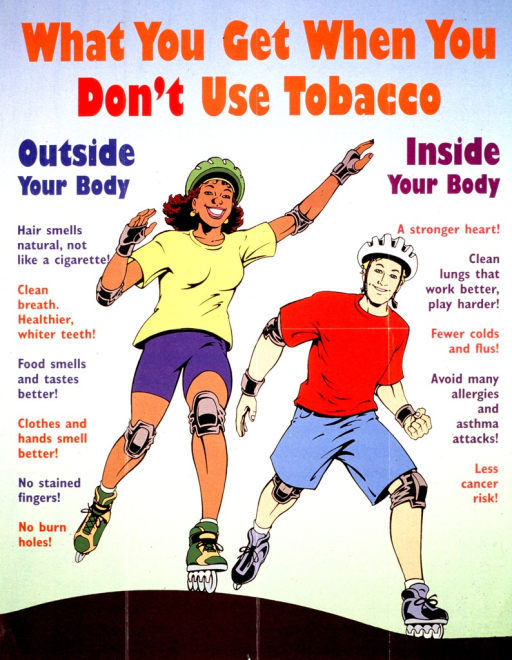 <p>Multicolor poster.  Title at top of poster.  Visual image is an illustration of a two teens rollerblading.  Left side of poster lists external benefits of not smoking, such as clean breath and no burn holes.  Right side of poster lists internal benefits, including a stronger heart and fewer colds and flus.  Publisher information on verso of poster.</p>