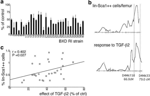 Linkage analysis in BXD RI strains. (a) Strain distribution pattern of the effect of 0.1 ng/ml TGF-β2 on the KL, flt3L, and TPO-supported proliferation of LSK cells in BXD mice (mean ± SEM; n = 2–4). (b) Pattern of likelihood ratio statistic (y axis) values along chromosome 4 for the absolute number of lin−Sca1++ cells (reference 9) and their responsiveness to TGF-β2. The y axis scale is relative to normalize the size of both peaks (the maximum likelihood ratio statistic value is 15.9 for the number of lin−Sca1++ cells, and 13.7 of the effect of TGF-β2). (c) Correlation between the effect of TGF-β2 on the proliferation of LSK cells (a) and the frequency of lin−Sca1++ cells (reference 9).