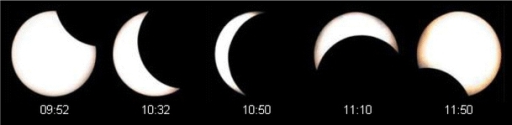 Phases of the solar eclipse on 22 July 2009 over southern Korea (photo courtesy of the Chosun Ilbo daily newspaper)