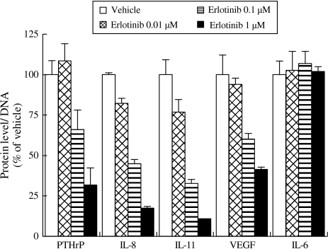 Effects of erlotinib on production of osteolytic factor of NCI-H292 cells. The protein levels of osteolytic factors in the conditioned media of NCI-H292 cells treated with or without 1 μM erlotinib were measured. Each point represents the mean + SD of duplicates