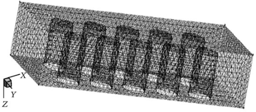 Three-dimensional mesh of the microchamber reactor.