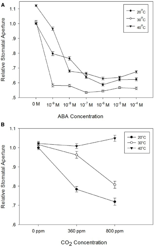 Temperature-dependence of the responses of barley stomata to ABA and CO2. (A) Interaction between temperature and ABA. Promotion of closure assays were performed at a range of concentrations of ABA in CO2-free air at either 20°C (filled circles), 30°C (open circles), or 40°C (filled triangles). To normalize for variation between different experiments, stomatal apertures are expressed relative to that of the control (stomatal aperture at 20°C, no ABA). Data from at least 3 sets of independent experiments were pooled and values are means of at least 120 measurements ± SE. (B) Interaction between temperature and CO2. Promotion of closure assays were performed in CO2-free air or at ambient or elevated CO2 at either 20°C (filled circles), 30°C (open circles), or 40°C (filled triangles). To normalize for variation between different experiments, stomatal apertures are expressed relative to that of the control (stomatal aperture at 20°C, no CO2). Data from at least three sets of independent experiments were pooled and values are means of at least 120 measurements ± SE.