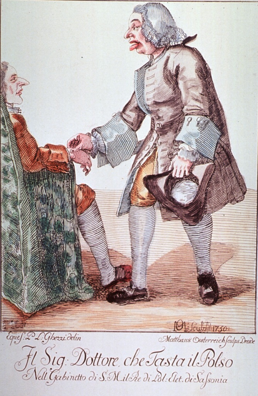 <p>A physician, standing and holding his hat in one hand, is taking the pulse of a man sitting in a chair.</p>