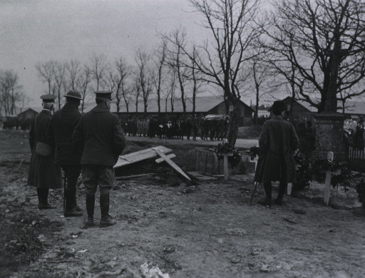 <p>In Croismare, France, at the grave of American Soldier before funeral procession arrives.</p>