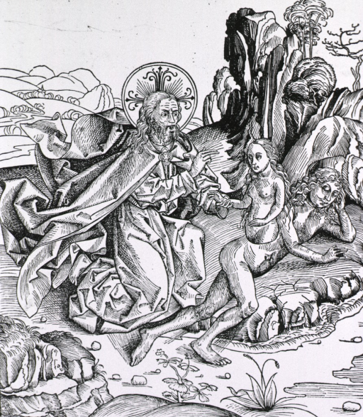 <p>God attends to the birth of Eve while Adam sleeps.</p>