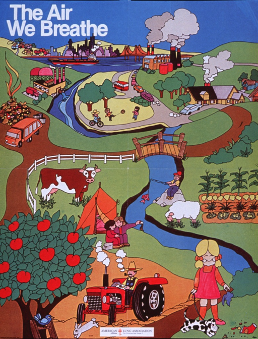 <p>Multicolor poster with white lettering.  Title at top of poster.  Entire poster is a cartoon-style illustration showing factors that affect the environment.  Factories, cars, homes, a landfill, and a tractor all emit smoke and air pollutants.  A factory and a person dump liquids into a river; elsewhere the ground is littered.  Amid these pollutants, children play, a man fishes, animals graze, and crops grow.  American Lung Association logo at bottom of poster.</p>