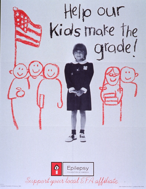 <p>White poster with black and red lettering.  Title at top of poster.  Visual image is in part a reproduction of a b&amp;w photo of a young girl.  Illustrations of other children, some holding books, and an American flag surround the girl.  Publisher name and logo below photo.  Note below logo.  Publisher information at bottom of poster.</p>