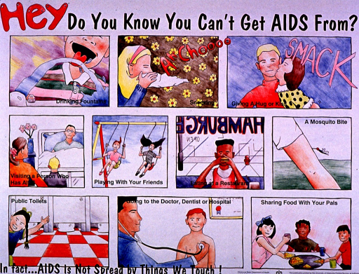 <p>Predominantly white poster with red and black lettering.  Title at top of poster.  Visual images are illustrations depicting everyday objects and activities that do not transmit AIDS, such as drinking fountains, sneezing, mosquito bites, etc.  Note and publisher information at bottom of poster.</p>