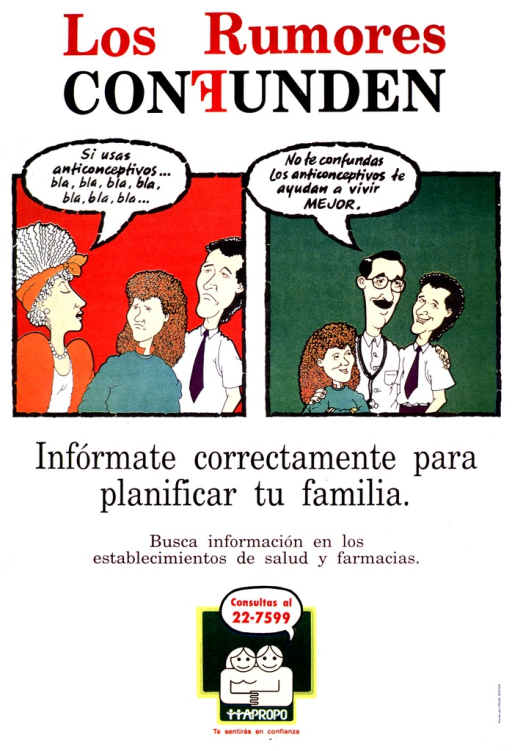 <p>White background with red and black lettering. Middle portion of poster is two multi-color illustrations : a male and female couple frowning as they listen to a woman in the first illustration, the same couple then listening and smiling as a doctor talks in the second illustration. Text is above and below the illustrations. A phone number as part of a logo is provided at the bottom of the poster.</p>