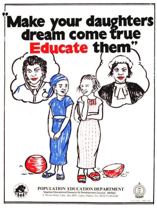 <p>White poster with black and red lettering.  Title at top of poster.  Visual image is a color illustration of two girls with thought bubbles above their heads.  On the left, the girl thinks of a doctor.  On the right, the girl thinks of a judge or lawyer.  Publisher information at bottom of poster.</p>