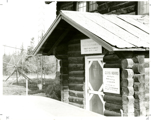 <p>United States Department of Health  Education and Welfare (HEW) Public Health Service Alaska Native Clinic in Galena, Alaska with an Application Technology Satellite -1 (ATS-1) antenna at left. Page 428, A history of the National Library of Medicine, by Dr. Wyndham D. Miles.</p>