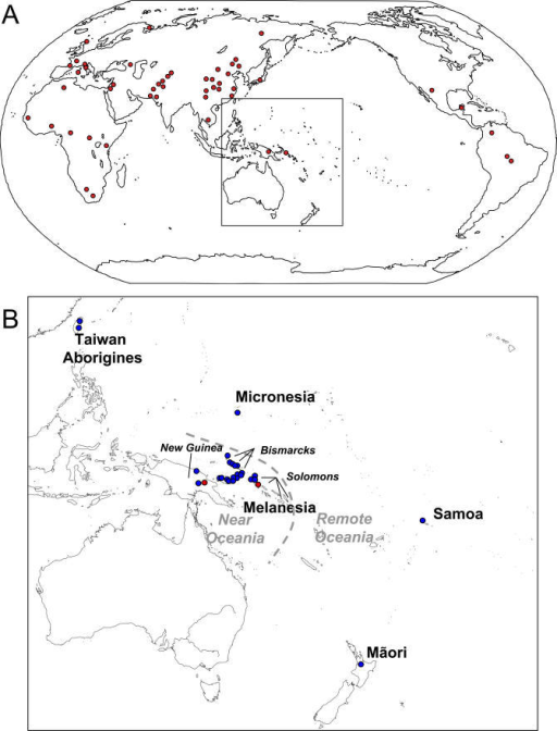 "Populations Included in This Study(A) HGDP-CEPH population locations. The two Pacific groups are boxed.(B) Pacific population locations. Our population samples are blue; the 2 HGDP-CEPH Melanesian ""Oceanic"" groups are red."