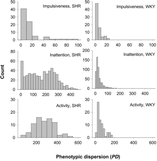 Histogram distributions of impulsive, inattentive and hyperactive behavior in 16 Spontaneously Hypertensive Rats (SHR) and 15 control Wistar-Kyoto (WKY) rats.