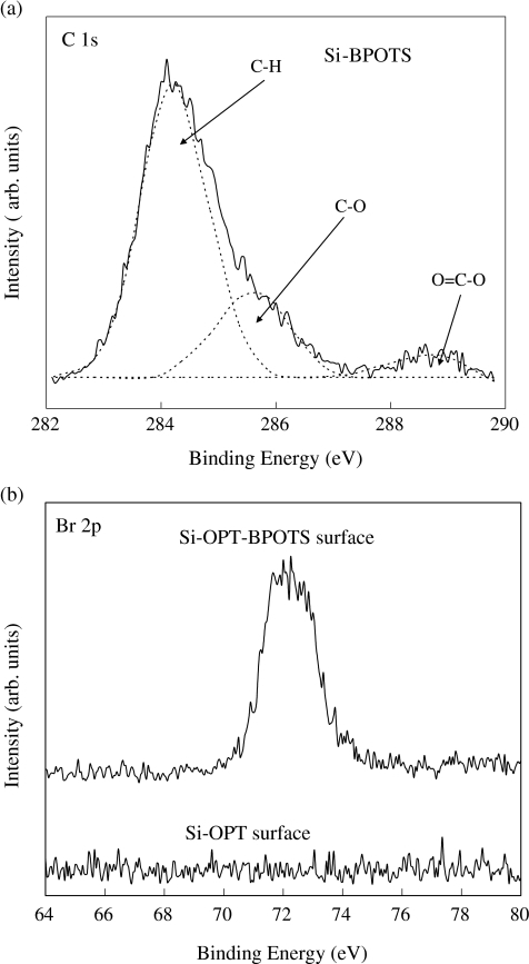 a XPS C 1s core-level spectrum of the Si-BPOTS surface. b XPS Br 2d core-level spectra of the Si-BPOTS and Si-OPT surfaces
