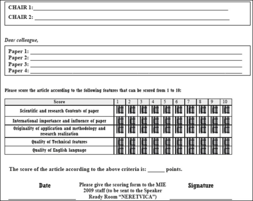 Quality assessment form for session chairs (based on Acta Medic Informatica peer-review form)
