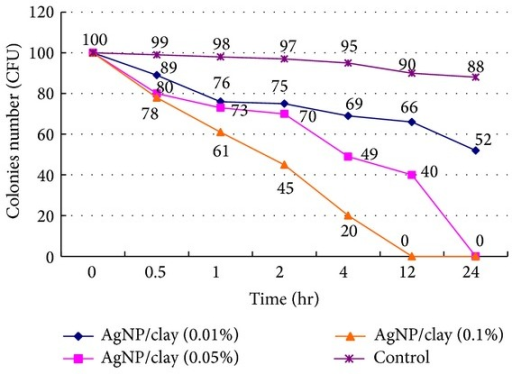We surveyed the reaction time of inhibiting H. pylori in different concentrations of AgNP/clay. We found that the higher the concentration, the shorter the reaction time. H. pylori could be completely inhibited within 12 hours in a concentration of 0.1% of weight. H. pylori: Helicobacter pylori; AgNP: silver nanoparticles.