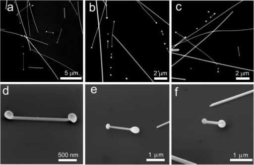 Nanostructures produced by laser processing of Ag NWs. NWs with end bulb, NDs of different length and spherical particles are typically produced (a-c). Partial rising of NDs from the substrate, imaged at 52° SEM stage tilt (d). Central part of Ag NDs is completely suspended, imaged at 45° (e). Ag ND rests on one bulb only, imaged at 45° (f).
