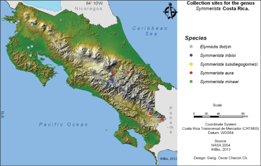 Map of Costa Rican collection sites for the four species of Notodontidae discussed here.