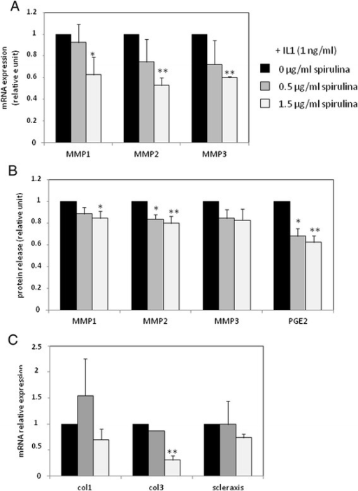 Effect of TOL19-001® in IL-1β stimulated-tendon cells. Tendon cells have been treated with IL-1β (1 ng/ml) and TOL19-001 (dose equivalent to 0.5 μg/ml and 1.5 μg/ml of Spirulina) for 48 h. Then, MMP, PGE2, collagen and scleraxis expression was evaluated by RT-PCR (a and c) or ELISA (b). Histograms represent mean values from 3 independent experiments ± SEM