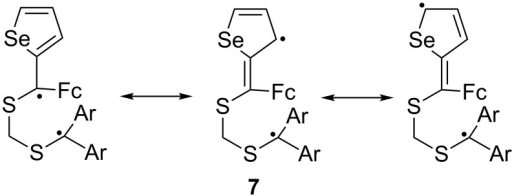 Mesomeric stabilization of the 1,5-diradical intermediate in the reaction of aromatic thiocarbonyl S-methanides with ferrocenyl hetaryl thioketones.