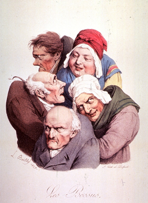 <p>Caricature of hunchbacks; group of three men and two women.</p>