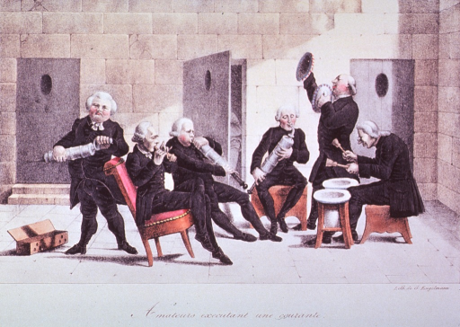 <p>A group of musicians performing inside a public restroom, using clysters and chamber pots as musical instruments.</p>