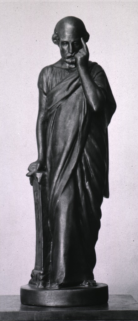 <p>Full length, face front, wearing draped robe, left fore-finger to forehead.</p>