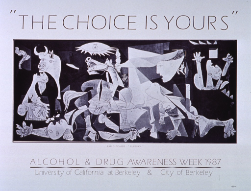 <p>White poster with black lettering.  Initial title words at top of poster.  Visual image is a reproduction of Picasso's 1937 masterpiece &quot;Guernica.&quot;  Remaining title words below image, publisher information below title.</p>