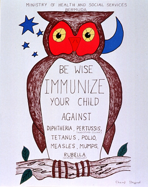 <p>White poster with black lettering.  Publisher information at top of poster.  Visual image is an illustration of an owl sitting on a branch.  The original illustration may have been hand colored.  Title and note superimposed on body of the owl.</p>
