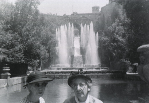<p>Head and shoulders, in front of a water fountain and pond.</p>