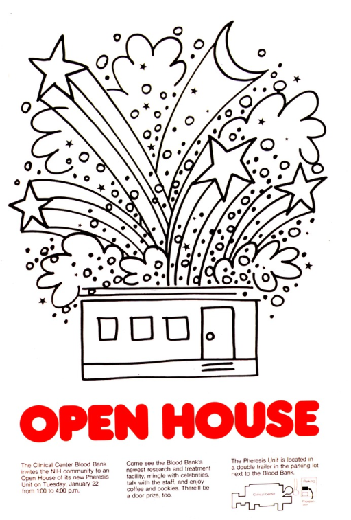 <p>The poster consists of a black and white drawing of a building with the roof blown off by fireworks.  Under the building is the title in red.  In addition to the caption is a small diagram of the location of the Pheresis Unit.</p>
