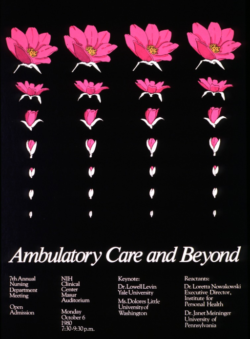 <p>Black poster with seven rows across and four identical columns showing the budding process of a pink flower as it opens.</p>