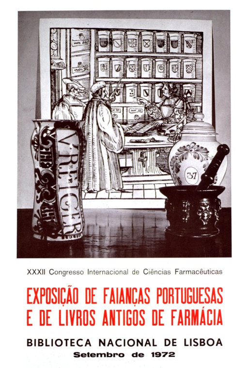 <p>White poster with black and red lettering.  Visual image at top of poster.  Image is a reproduction of a photo featuring two earthenware jars and a mortar and pestle.  The instruments sit on a table in front of what appears to be a woodcut depicting an early pharmacy.  All text below image.</p>