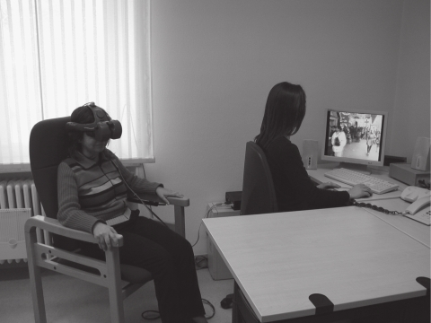 Virtual reality environments are presented using a head mounted display and tracking head movement.