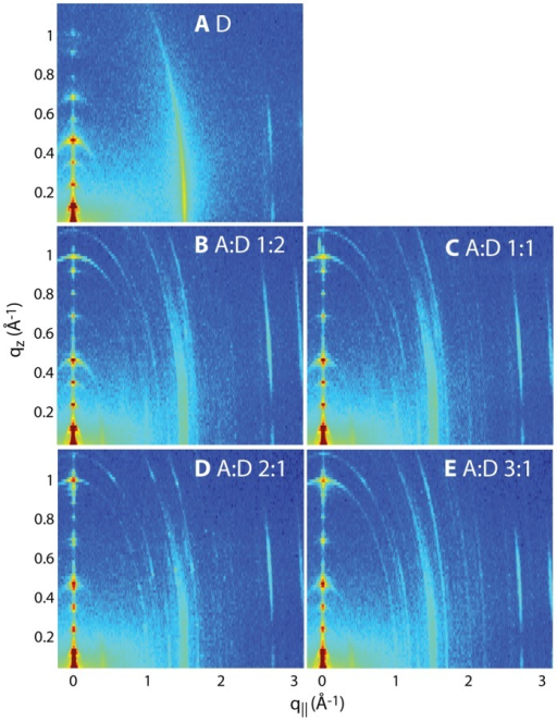 Two-dimensional X-ray intensity maps for all measured concentrations: A pure DMPC; B AMP:DMPC 1∶2; C AMP:DMPC 1∶1; D AMP:DMPC 2∶1; E AMP:DMPC 3∶1. All ratios are molar ratios. qz and q// are the out-of-plane and in-plane components of the scattering vector, Q.