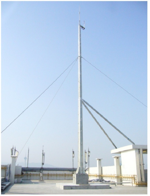 Photo of anemometer and its supporting mast.