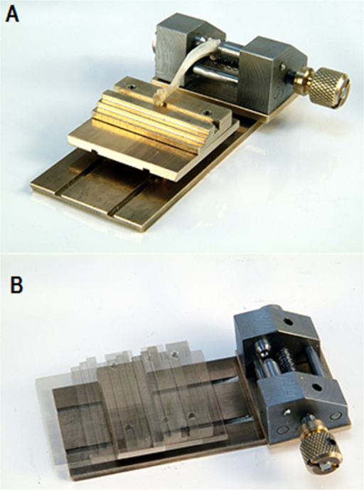 The newly designed, mobile, ball-mounted platform for the three-point bending/breaking test. A) The three-point bending/breaking device with the mobile, ball-mounted platform as a contact point for the distal diaphyseal tibia. B) Range of frictionless motion of the mobile, ball-mounted platform on the three-point bending/breaking device.