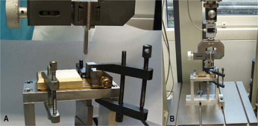 Three-point bending/breaking test set-up with the two different platform options. A) The three-point bending/breaking device strapped into a ZWICK-testing machine type Z020/TND (ZWICK-/Roell, Ulm, Germany) with a solid aluminum block as contact point for the distal diaphyseal tibia. B) Overview of the ZWICK-testing machine and the three-point bending/breaking device with the mobile, ball-mounted platform as contact point for the distal diaphyseal tibia.