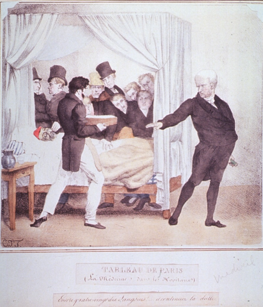 <p>Caricature:  A crowd of men, wearing top hats and coats, standing behind a patient's bed; a man in front of the bed presents a box-like container to a physician, the physician, walking away from the scene, tells him to continue with the treatment.</p>