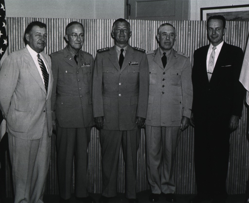 <p>Group of five, all full length, standing, l. to r.:  Fauber, Snyder, Ryan, Kennebeck, and Knutson.</p>
