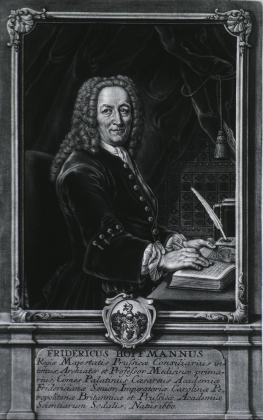 <p>Figure standing, hands on book, full face; frame on pedestal with Latin inscription and coat-of-arms.</p>