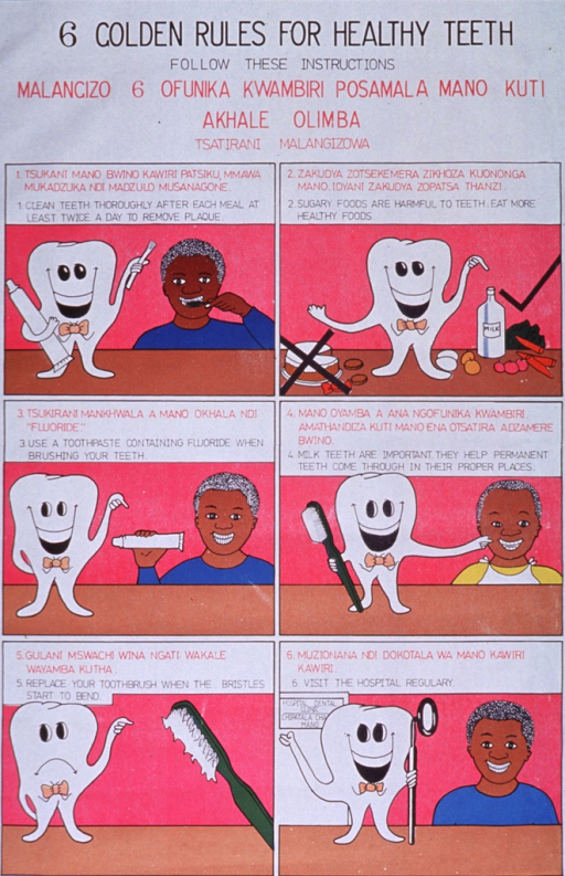 <p>White poster with black and pink lettering.  Titles at top of poster.  Visual image is a six-panel series of illustrations featuring a cartoon-style tooth, a boy, and a young child.  Panels show toothbrushing, foods that are healthy for teeth, using fluoride toothpaste, importance of milk teeth, when to replace a worn toothbrush, and getting regular dental care.  Panels all have short captions in English and Chichewa.  Publisher information at bottom of poster.</p>