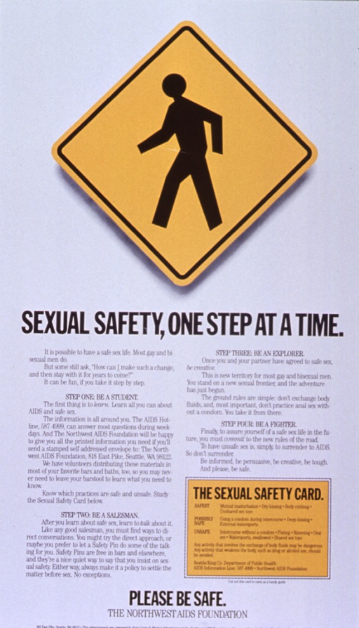 <p>White poster with black lettering.  Visual image at top of poster.  Image is an illustration of a yellow diamond-shaped road sign featuring a pedestrian.  Title below sign.  Lower portion of poster dominated by text explaining steps in adopting and enjoying safe sex practices for gay men.  A &quot;sexual safety card&quot; near lower right corner ranks sexual activities in order of risk.  Note and publisher information at bottom of poster.</p>