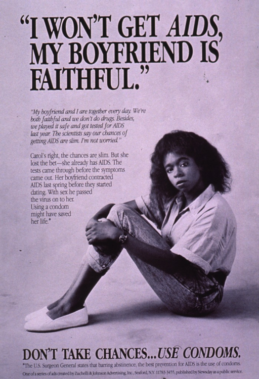 <p>Black and white poster with black lettering.  Title near top of poster.  Visual image is a b&amp;w photo reproduction featuring a young woman; she sits on the floor, in profile.  Lengthy caption to left of the woman deals with perceptions about safe sex, a partner's past behavior, and the importance of using condoms.  Note and publisher information at bottom of poster.</p>