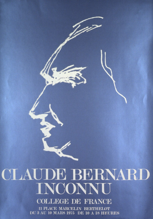 <p>Steel blue poster with cream lettering announcing exhibit, Mar. 1975.  Also lists location and hours.  Visual image in upper portion of poster.  Image is a silhouette, presumably of Bernard.  Title and textual information below image.</p>