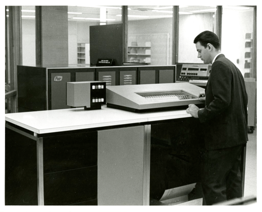<p>Donald Dodson operates a high speed IBM Impact Printer in the Office of Computer and Communcations Systems at the National Library of Medicine.</p>