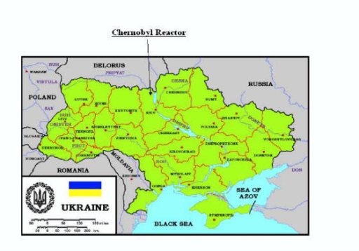 Map of Ukraine showing Oblasts in relation to the Chern  Openi