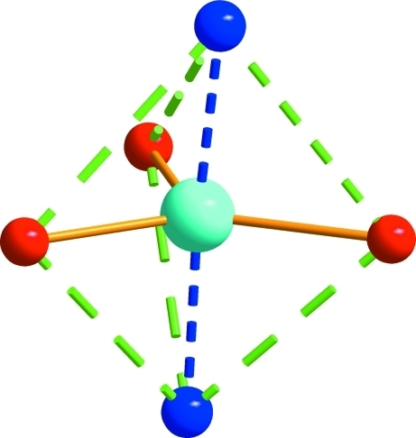 The coordination environment of the ZnII atom, showing the octahedral structurem.