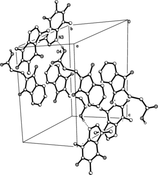 A view of the O—H···N hydrogen bonds (dotted lines) in the crystal structure of the title compound. H atoms non-participating in hydrogen- bonding were omitted for clarity.