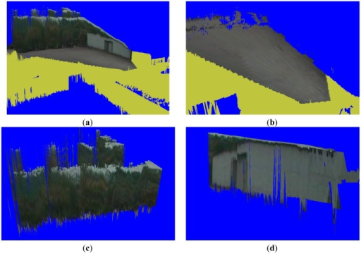 Segmentation and classification results. (a) Complete scene recovery. (b) Ground segmentation in the terrain mesh. (c) Tree classification in the terrain mesh. (d) Building classification in the terrain mesh.